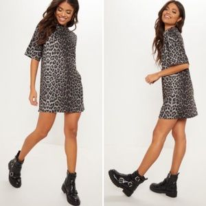 PRETTYLITTLETHING Leopard Print T Shirt Dress 6
